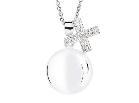 Chiama angeli croce con cristalli bianchi MAMIJUX®