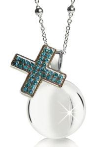 Chiama angeli MAMIJUX croce cristalli azzurri
