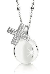 Chiama angeli MAMIJUX croce cristalli bianchi