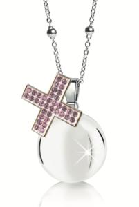 Chiama angeli MAMIJUX croce cristalli rosa